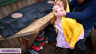 'Please don't tell my Parents' - Squirting Hoe Gets Caught in Shed and Butt Screwed - Shannon Heels
