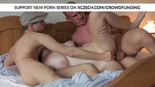 Titty czech adolescent is screwed by large dicks