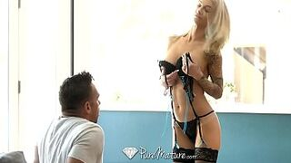 PureMature Adult inked up Synthia Fixx butthole screw with cum on face