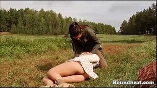 Hunting and whipping lesbo slaves