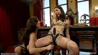 Bound gay woman spanked then face rode