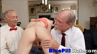 Naughty Girl Menage A Trois With two Old Grandpas