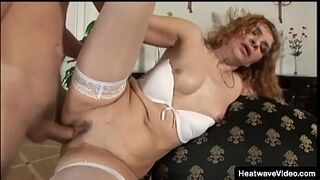 Older ginger mama female getting humped by her son friend
