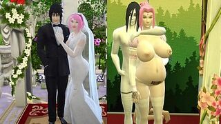 Sakura's Wedding Part four Naruto Hentai Obedient and Domesticated Woman Pregnant with her Rapists Marries in front of her Horned Husband and Sad Netorare
