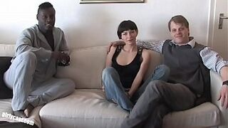 Pia Sofie's first dark man meat while her cuckold is watching