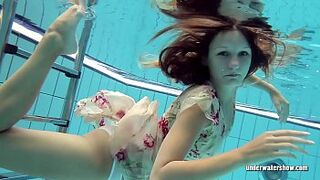 Lucy Gurchenko Russian hairy beauty queen in the pool stripped