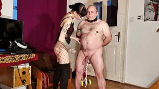 Goth domina painful CBT & bellypunch her curvy slave pt1 HD