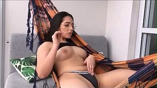 Young Lady male smoking in hammock can't resist and loves | Lis Xxx