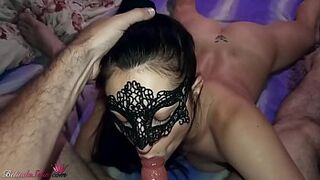 Masked Dark-Haired Oral Massive Penis and Sperm in Mouth