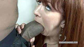 Ginger hot girl Trinity Post takes on a massive inky man meat
