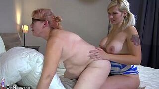 OldNanny 2 sexy lesbo matron is enjoying with strapon
