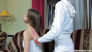 Excited homosexual girl teens sharing a long fake cock