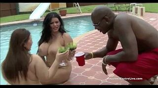 Giant Titted Angelina Castro & Lexxxi take on HUGE penis by the pool!
