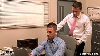 Gorgeous tranny gets butt fucked in the office