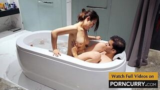 Porncurry - Indian Intercourse Scandal Desi Man in Bath Tub with young lady Japanese 18yo