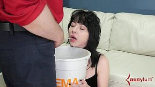 Piss waterboarding and rock butthole for tiny goth masochist