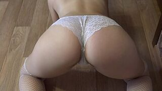 Juicy butt in white panties doggystyle, and hairy vagina humped with rubber man meat.