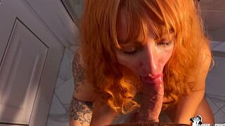Red Hair Strasso Sucks A Large Penis And Sit On It In The Bathroom - Seed In Mouth