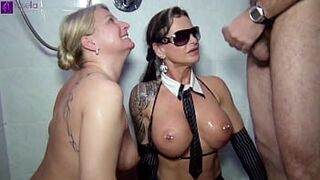 11 fellas pissed us in the mouth! two swallowing sluts in action!