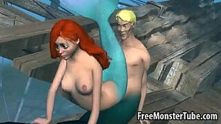 3D Ariel from the Tiny Mermaid gets banged rough-high one