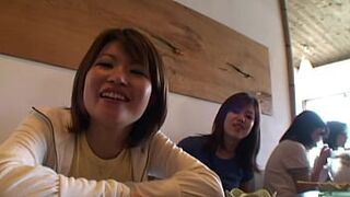 two lady japanese backpacker meets some older fellas and have fun in a hostel