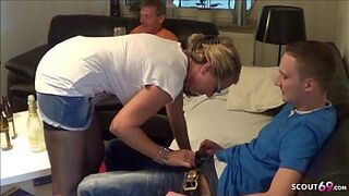 German Lady Shag Juvenile Deliver Man and Cuckold Husband Watch