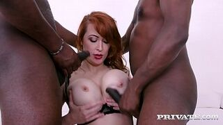 Private.com - DPd Red Hair Adult Isabella Lui Humped By two Giant Dark Skin Dicks!
