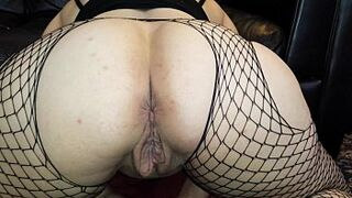 Pinky Peach tight with 3 huge dildos