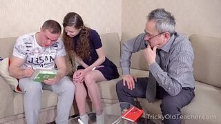 Tricky Old Tutor - Amazing comes to study but gets a double bang