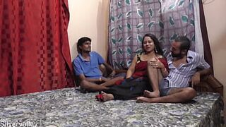 Indian husband shared his newly married 2nd matron with best friend.. Menage A Trois intercourse with clear audio
