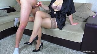 Sperm on legs in stockings daughter in law