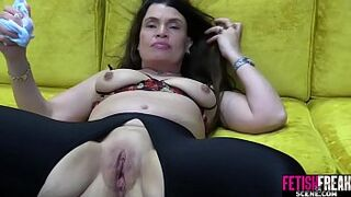 FetishFreakScene Pinky Peach gapping with enormous red rubber dick