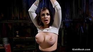 Giant big boobs gay woman slave gets butthole in barn