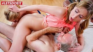 LETSDOEIT - College Teen Sparta Has To Please Her Excited Stepdad Alongside With Her mature mom Mature Klara