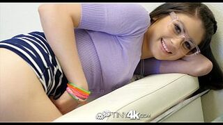 TINY4K Small Size office employee Marina Woods screwed by her boss