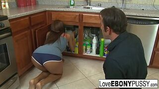 Tall dark-haired Jordin Skye has multiracial sexual intercourse in the kitchen