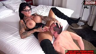 german domina with enormous bobbies get lick vagina from slave