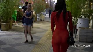 Red transparent dress in outside