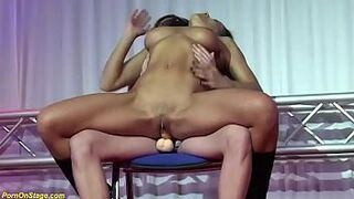 b. strapon intercourse on outside stage
