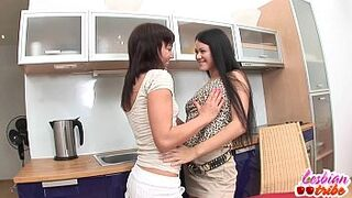 dark-haired eighteen years old ladies lesbo licking vagina bobbies and fingering