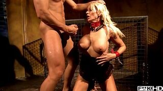 Light-Colored BDSM Mama Winni gets bound and treated as a dog by dominant stud