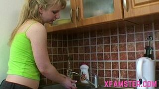 Butthole sexual intercourse with young lady clumsy half-sister in kitchen shag deep in booty till sperm