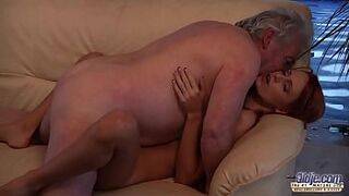 Old Guy Falls In Intimacy With Adorable Teenager Ginger and Fucks Her Vagina