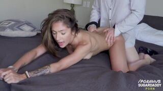 Skylar Angel Sucks the Soul out of her Daddy and Smiles when he Showers her with Seed