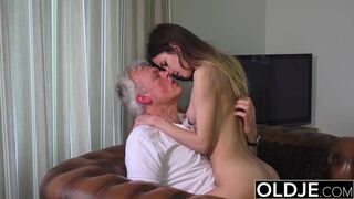 Old and Childlike Porn - Babysitter Pinky Peach Humped by old Guy and Consume Jizz