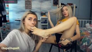 Russian Chick Worship each others Feet