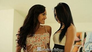 Passion-HD uncut-faultless 2 georgous brunettes are humped in a Menage a Trois