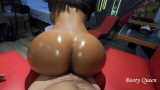 Butt Queen Large Butt Bouncing on my Man Meat and Twerking Reverse Cowgirl. Pov. Oiled Bubble Bum Eighteen Years Old