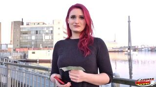 GERMAN SCOUT - Red-Haired College 18Yo Melina Talk to Screw at Street Casting