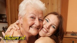 Hairy Grandma Luvs it when her Granddaughter comes Over!